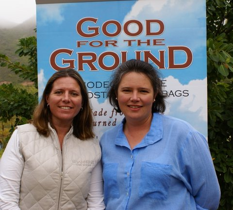 Iona Palmer and Alison Gilson - with Good for the Ground banner